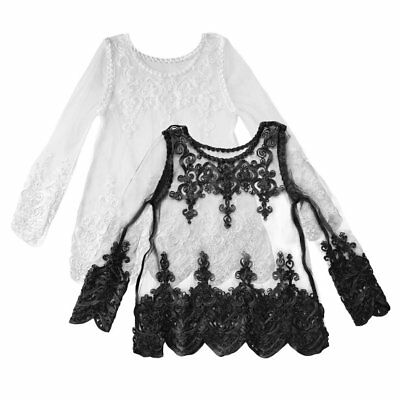 Half Transparent Outfits Top Lace Cover-ups Women Lace Embroidery Blouse Tops E1