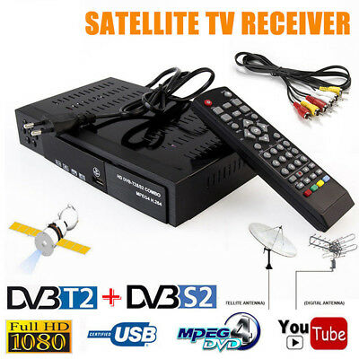 HD Digital Satellite TV Receiver DVB-T2+DVB-S2 FTA 1080P Decoder Tuner MPEG4