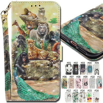 For Various Phone Wallet PU Leather Holder Strap 3D Slot Flip Stand Case Cover