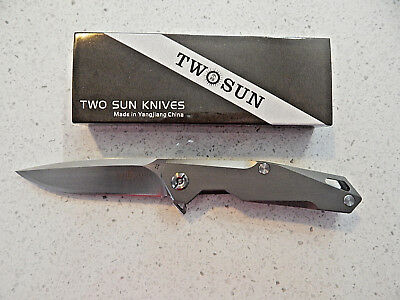 TwoSun TS21, EDC,Titanium, D2 Steel,Ball Bearing,Fast Open Flipper Folder Knife