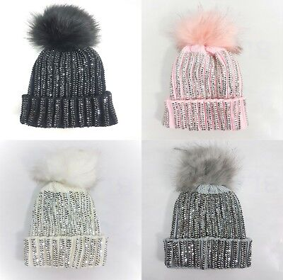 Unisex Kids Children Pom Pom Knitted Beanie Cosy Hat Hats Cap Winter Worm Girls