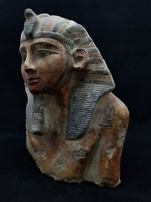 ANCIENT EGYPTIAN ANTIQUES Large Half Statue Of Ramses Hand Carved EGYPT Stone BC