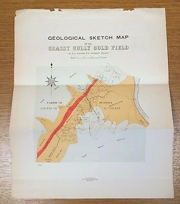 Circa 1901 Geological Sketch Map Grassy Gully Gold Field Australia Antique Color