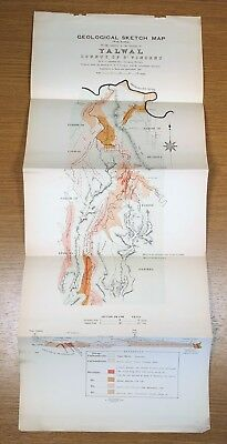 1901 Geological Sketch Map Yalwal County of St. Vincent Australia Antique Color