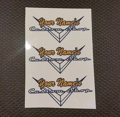 Personalized Custom Shop Waterslide Decal Set of 3 (Outline)