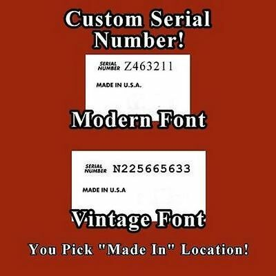 Custom Serial Number and Country Waterslide Decal