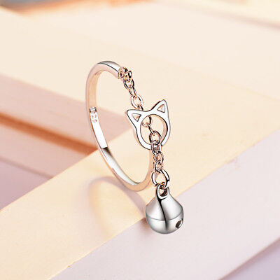 Jewelry 925 Sterling Silver Hollow Cat Bell Opening Ring Woman Gift Adjustable