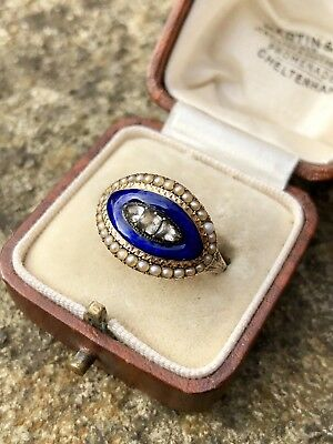 Victorian Antique Blue  Enamel Memory Mourning Band Ring Gold Paste Pearl