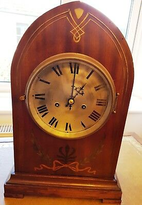 Attractive old wooden chiming clock recently refurbished