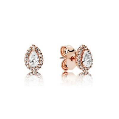 S925 Silver &14K Rose Gold Pl Radiant Teardrop Earrings by Pandora's Angels