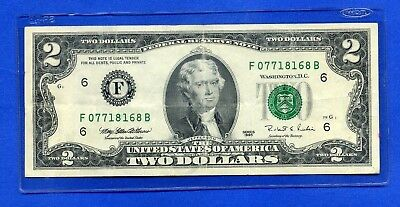 $2 ATLANTA 1995 Inspected LOW #F/B Two Dollar Note BILL + CURRENCY HOLDER
