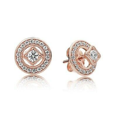 S925 Silver &14K Rose Gold Pl Vintage Allure Studs Earrings by Pandora's Angels