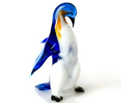 "Blue White Penguin Figurine Blown Glass ""Murano"" Art Animal Bird Miniature"