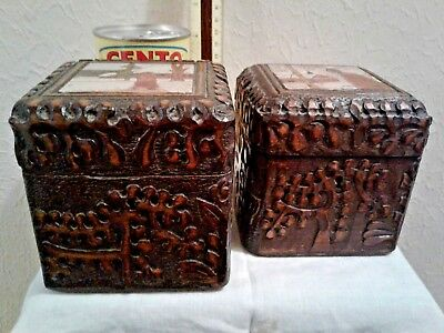 Hand-Carved Set of 2 Vintage Wooden Russian Folk Art Boxes (date to 50s - 60s)