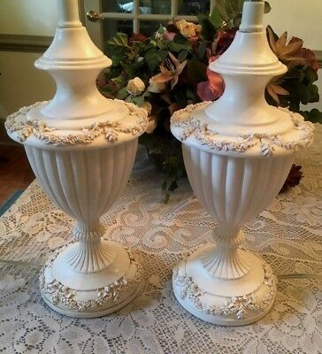 A Pair of Rare Gorgeous Vintage Lamps Urns Raised Flowers