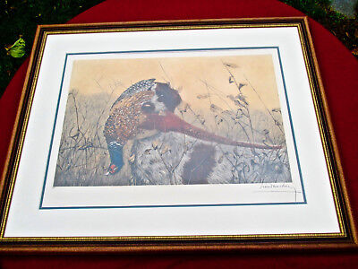 Professionally framed and matted Print of Hunting Dog w/Bird by Leon Danchin