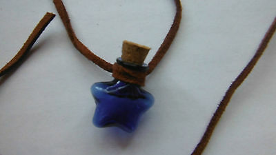 Blue Glass Wishing Bottle Perfume/Oil Silk Bag/Pipette Unique Gift