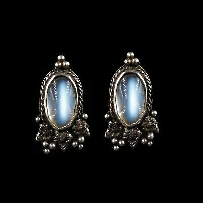 Antique Victorian Arts and Crafts Moonstone Sterling Silver Oval Earrings c.1880