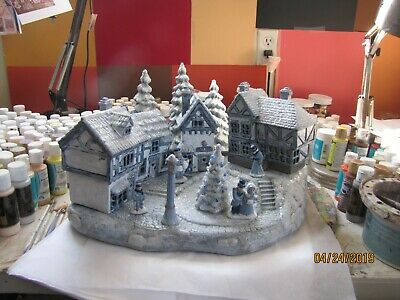 """Ceramic Bisque Hand-Painted Scrooge Village With Base By Scioto 16"""" Tall X 17"""" W"""