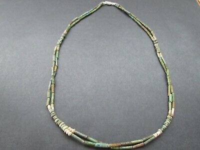 NILE  Ancient Egyptian Amulet Double Strand Mummy Bead Necklace ca 600 BC