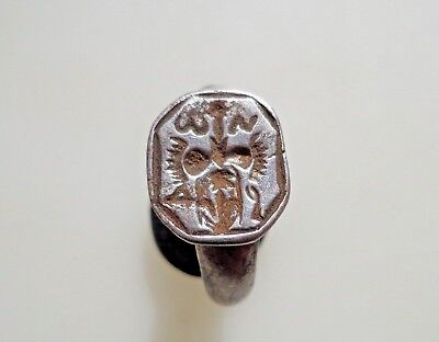 Medieval Silver Signet Ring 12th-13th century AD.