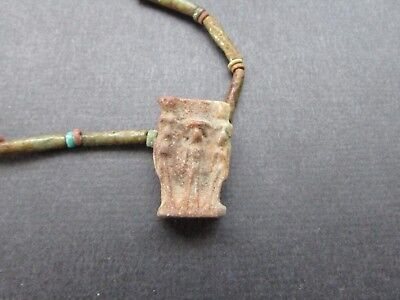 NILE  Ancient Egyptian Royal Triad Amulet Mummy Bead Necklace ca 600 BC