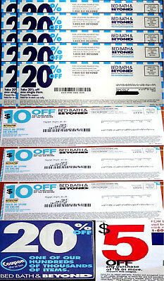 Lot Of 15 Bed Bath & Beyond Coupons 1) $5 Off $15,3) $10 Off $30 & 11) 20% Off