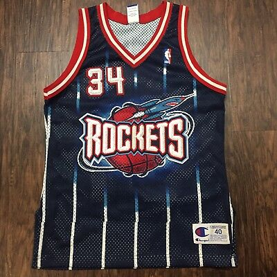 CHAMPION AUTHENTIC HOUSTON Rockets Hakeem Olajuwon jersey 48 XL NWT ... 49134b39e