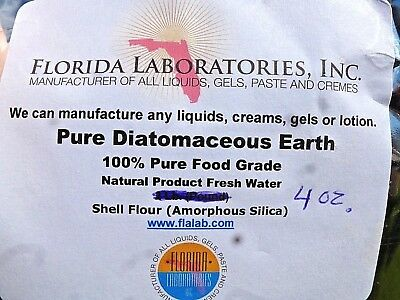 Diatomaceous Earth 100% Pure Food Grade Natural Product Fresh Water 4 oz. Bag...