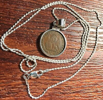 Antique 1849 Italy Venice Winged Lion of St Mark Coin Silver Bezel Pendant Chain