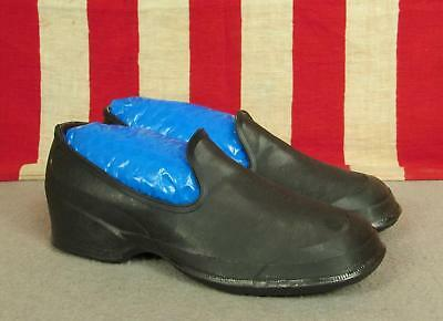 Vintage 1930s Beacon Falls Girls Rain Shoes Black Rubber Galoshes Youth Sz13 NOS