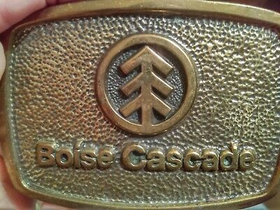 Vintage 1978 **boise Cascade** Paper Company Solid Brass Bts Belt Buckle