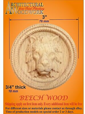 Wooden carved decor, Rosette with Lion Head