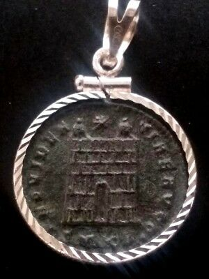 Constantine Great Camp-Gate Authentic Ancient Roman Coin Sterling Pendant Charm