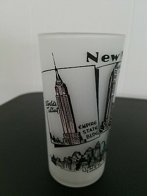 Vintage New York City Souvenir Frosted Drinking Glass