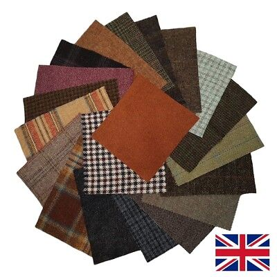 "British Tweed 20 Pieces 100%Wool 23x23cm 9x9"" Remnants Offcuts Craft *Not Harris"