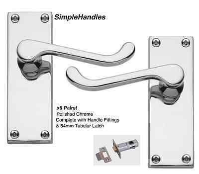 Golden Grace 10 Sets of Victorian Scroll Latch Door Handles in Polished Chrome /& Latches Pack Sets
