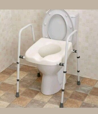Adjustable Toilet Frame Raised Elevated Seat Mobility Disability Aid Elderly