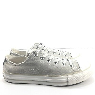 5e7ecee5e3f2 Converse All Star Youth Size 5 Silver Glitter Sparkle Low Top Shoes Sneaker-  EUC