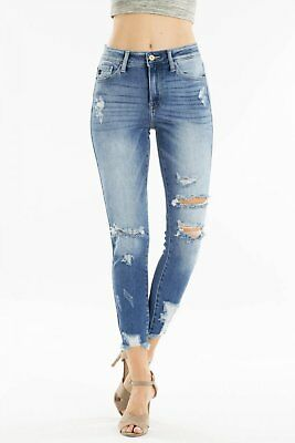 Kan Can #7165 NEW Women's Junior High Rise Distressed Stretch Ankle Skinny Jeans