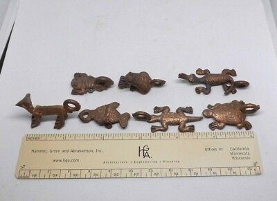 Animal Goldweight Brass Figurines Ashanti Ghana African Lot of 7 pendents