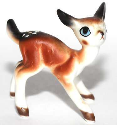 "Sweet Miniature Bone China Deer Fawn Figurine 1 1/8"" High x 1 1/2"" Wide"