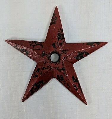 "Antique Cast Iron 9"" Anchor Plate Star w/ Center Hole Architectural Salvage"