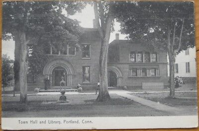 Portland, CT 1910 Postcard: Town Hall & Library - Connecticut Conn
