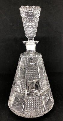 Vintage Crystal Decanter Stopper Waffle Block Pattern