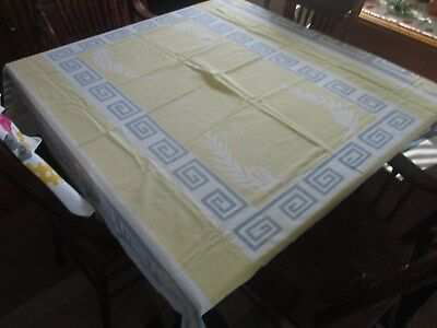 Beautiful Vintage Yellow & Grey Tablecloth