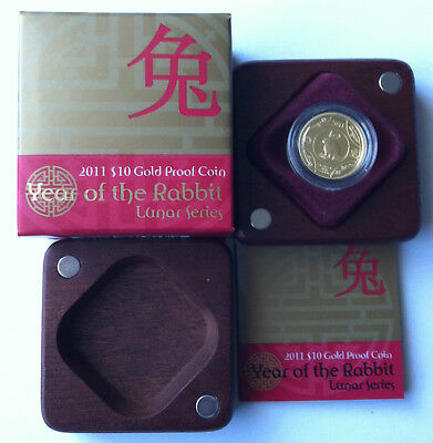2011 $10 RAM Year Of The Rabbit 1/10oz Gold Proof Coin