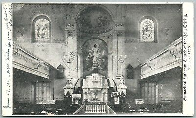 LANCASTER PA LUTHERAN CHURCH of HOLY TRINITY 1905 UNDIVIDED ANTIQUE POSTCARD