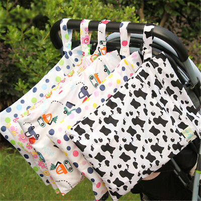 Baby Protable Nappy Washable Nappy Wet Dry Cloth Zipper Waterproof Diaper Bags_K