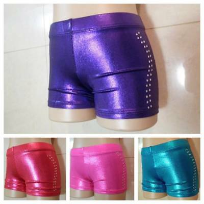 NEW COLOUR SHINY FOIL BIKE SHORTS Gymnastics Dance Acrobatic Gym Leotard Tights